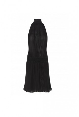 CADOLLE - DRESS IN PLEATED CHIFFON BLACK