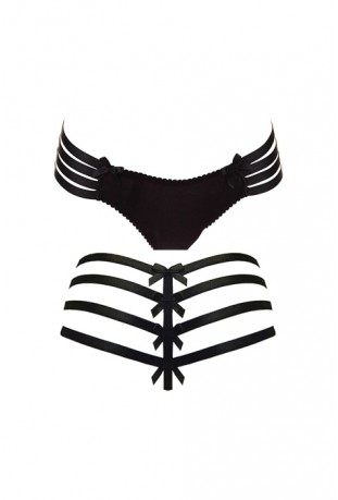 BORDELLE - ADJUSTABLE WEBBED THONG BLACK